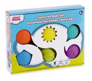 TEDDIES Sada gumových míčků s texturou 6 ks mix barev