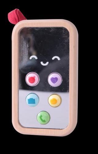 TEDDIES Telefon Mobil dřevo 11cm na baterie se zvukem 10m  mix barev