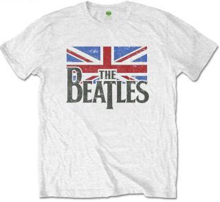 The Beatles Logo & Vintage Flag Kids T-Shirt White  pánské 9 - 10 Y