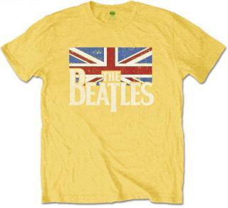The Beatles Logo & Vintage Flag Kids T-Shirt Yellow  pánské 9 - 10 Y