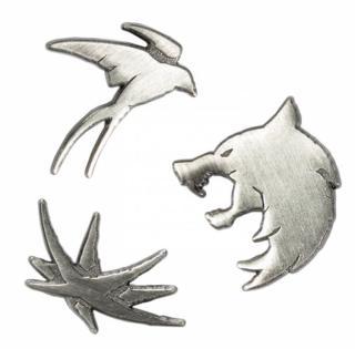 The Witcher - Odznak Zaklínač Trinity Sigils - vlk, vlaštovka a jitřenka