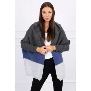 Three-color hooded sweater graphite jeans gray dámské Neurčeno One size