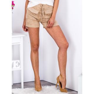 Tied beige shorts in eco suede with pockets dámské Neurčeno L