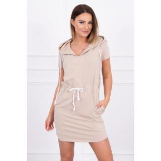 Tied dress with hood beige dámské Neurčeno One size