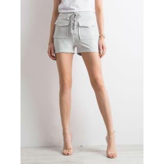Tied light gray shorts in eco suede dámské Neurčeno L