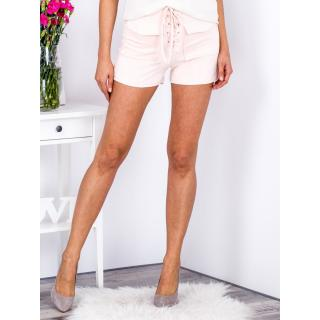 Tied peach shorts in eco suede with pockets dámské Neurčeno M