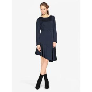 Tmavě modré asymetrické šaty s dlouhým rukávem VERO MODA Elsa dámské Tmavě modrá XL