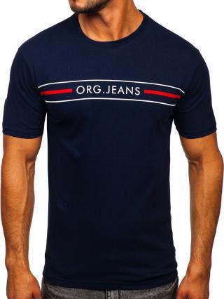 Tmavě modré pánské tričko s potiskem Bolf 14802 2XL