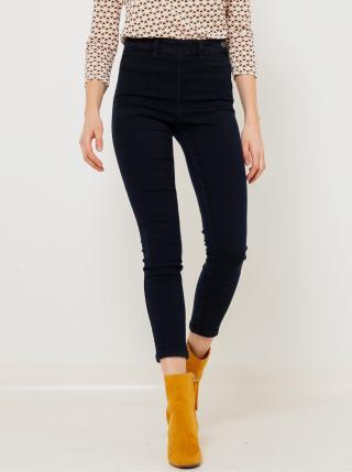 Tmavě modré zkrácené skinny fit džíny s vysokým pasem CAMAIEU dámské tmavě modrá XL