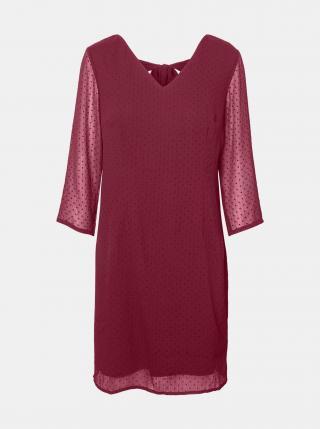 Tmavě růžové puntíkované šaty VERO MODA dámské tmavě růžová M