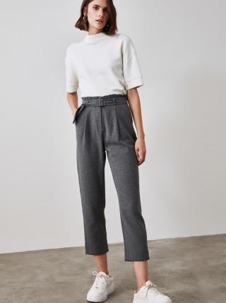 Tmavě šedé kalhoty Trendyol dámské tmavě šedá XS