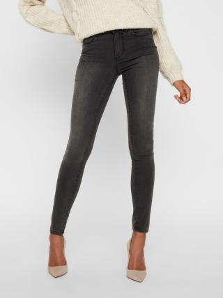 Tmavě šedé skinny fit džíny VERO MODA Tanya dámské tmavě šedá XL