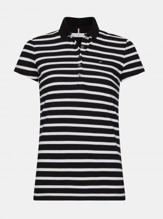 Tommy Hilfiger černo-bílé pruhované polo tričko - XS dámské černá XS