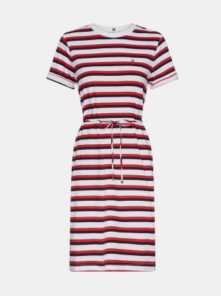 Tommy Hilfiger červeno-bílé pruhované basic šaty - XS dámské bílá XS