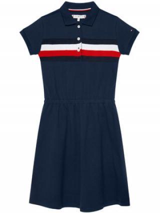Tommy Hilfiger Každodenní šaty Pique Polo KG0KG05637 D Tmavomodrá Regular Fit dámské 8Y