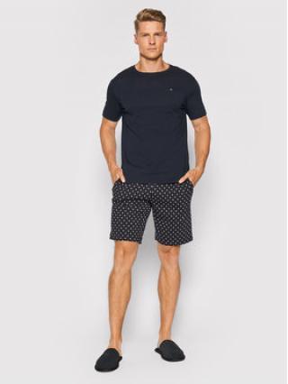 Tommy Hilfiger Pyžamo Cn Ss Short Jersey Set Print UM0UM02319 Tmavomodrá pánské S