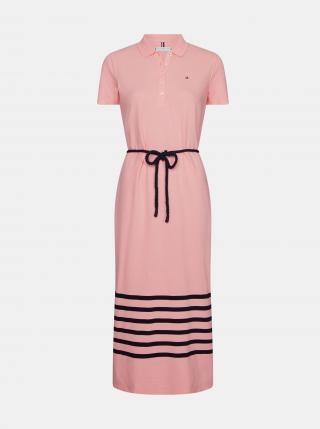 Tommy Hilfiger růžové maxi šaty s pruhy - XS dámské růžová XS