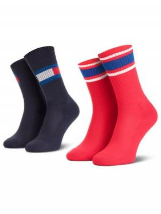 Tommy Hilfiger Sada 2 párů vysokých ponožek unisex 394020001 Červená 27_30