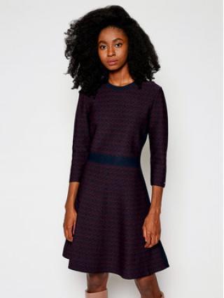 TOMMY HILFIGER Úpletové šaty Cube Fit & Flare WW0WW29321 Tmavomodrá Slim Fit dámské XS