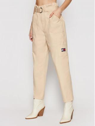 Tommy Jeans Kalhoty z materiálu Tjw Paperbag Cargo DW0DW09741 Béžová Regular Fit dámské 24_30