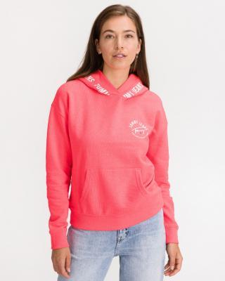 Tommy Jeans Repeat Logo Tape Mikina Růžová dámské S