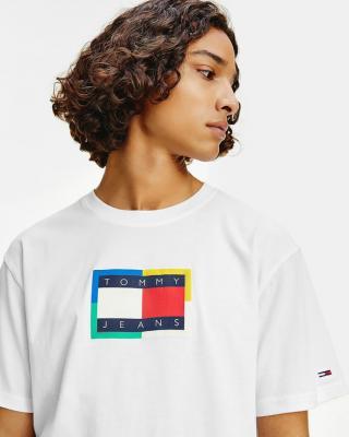 Tommy Jeans TJM Multicolor Flag Tee Bílá pánské M