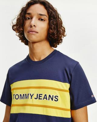 Tommy Jeans TJM Stripe Colorblock Tee Triko Modrá pánské M