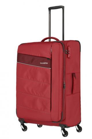Travelite Látkový cestovní kufr Kite 4w L Red 95/109 l červená