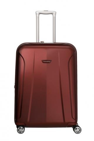 Travelite Skořepinový cestovní kufr Elbe 4w M Red 73/84 l červená