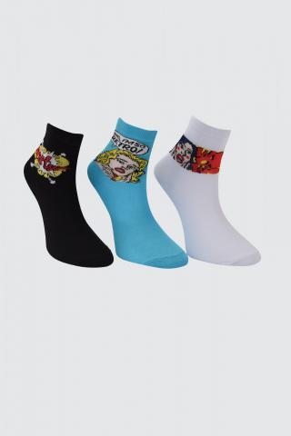 Trendyol 3 Jacquard Knitted Socks dámské Green One size
