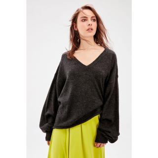 Trendyol Anthracite Balloon Sleeve sweater dámské L