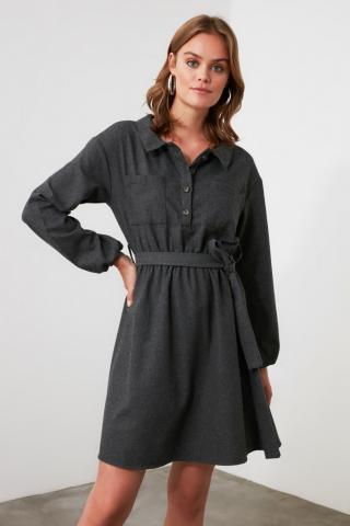 Trendyol Anthracite Belt Dress dámské 34
