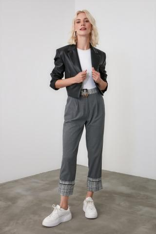 Trendyol Anthracite BeltEd Trousers dámské 34