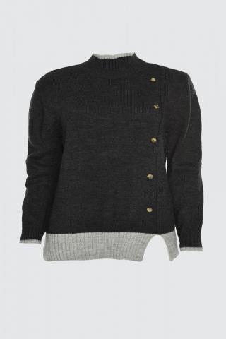 Trendyol Anthracite Button Detailed Color BlockKriko Sweater dámské S