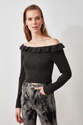 Trendyol Anthracite Carmen Collar Knitted Blouse dámské XS