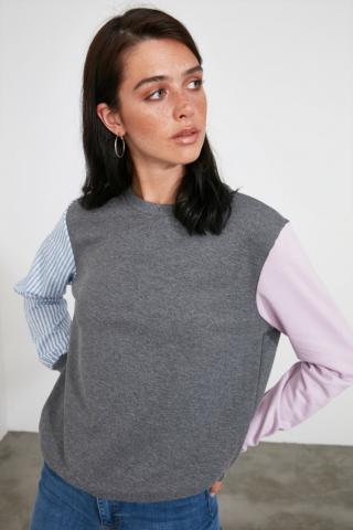 Trendyol Anthracite Color Block Basic Knitted Sweatshirt dámské L