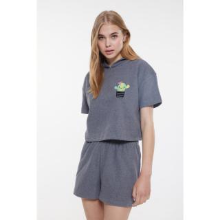 Trendyol Anthracite Embroidered Camisole Pajamas Set dámské XS