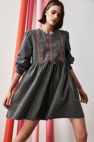 Trendyol Anthracite Embroidered Dress dámské 34