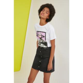 Trendyol Anthracite Front Button Mini Denim Skirt dámské 34