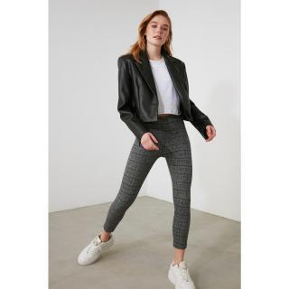 Trendyol Anthracite Jackar High Waist Knitted Pants dámské M