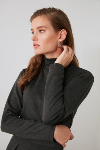 Trendyol Anthracite Knitted Blouse dámské XS