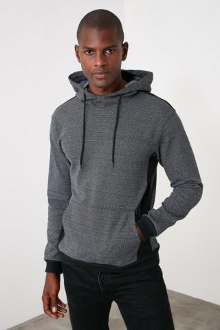 Trendyol Anthracite Mens Hooded Sweatshirt pánské M