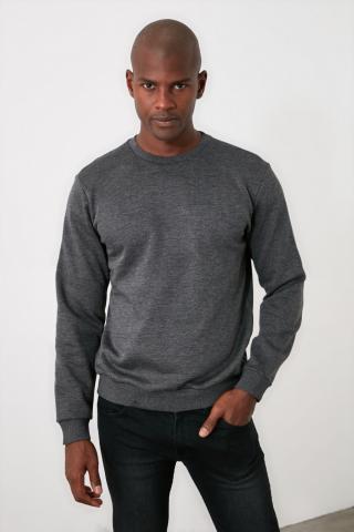 Trendyol Anthracite Mens Regular Fit Sweatshirt pánské S