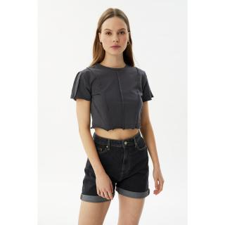 Trendyol Anthracite Piping Crop Knitted Blouse dámské XS