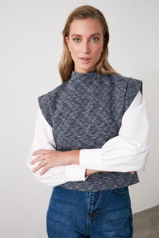 Trendyol Anthracite Quilted Fabric Sleeveless Knitted Blouse dámské XS