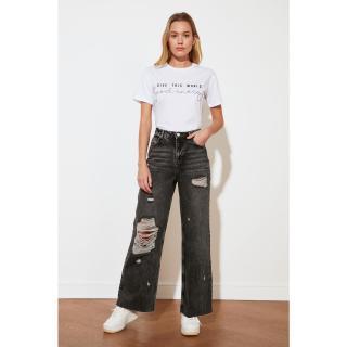 Trendyol Anthracite Ripped Detailed High Waist Wide Leg Jeans dámské 34