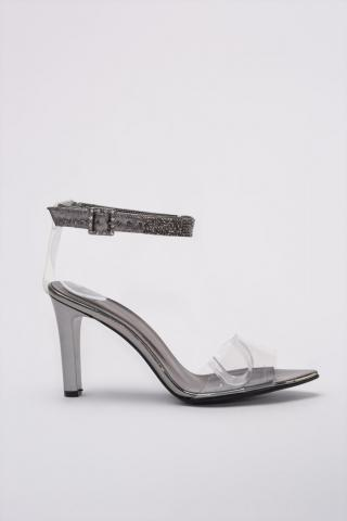 Trendyol Anthracite Stone Detailed Transparent Womens Classic Heels dámské 39