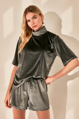 Trendyol Anthracite Straight-Collar Knitted Blouse dámské XS