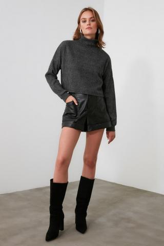 Trendyol Anthracite Turtleneer Knitted Blouse dámské XS