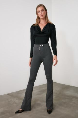 Trendyol Anthracite Zip Flare Knitted Trousers dámské XS